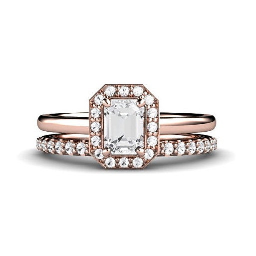 emerald engagement ring wedding set emerald by