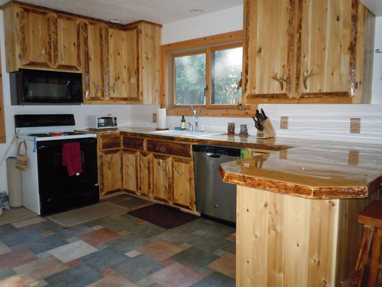 rustic custom cedar wood kitchen cabinets by kingoftheforest