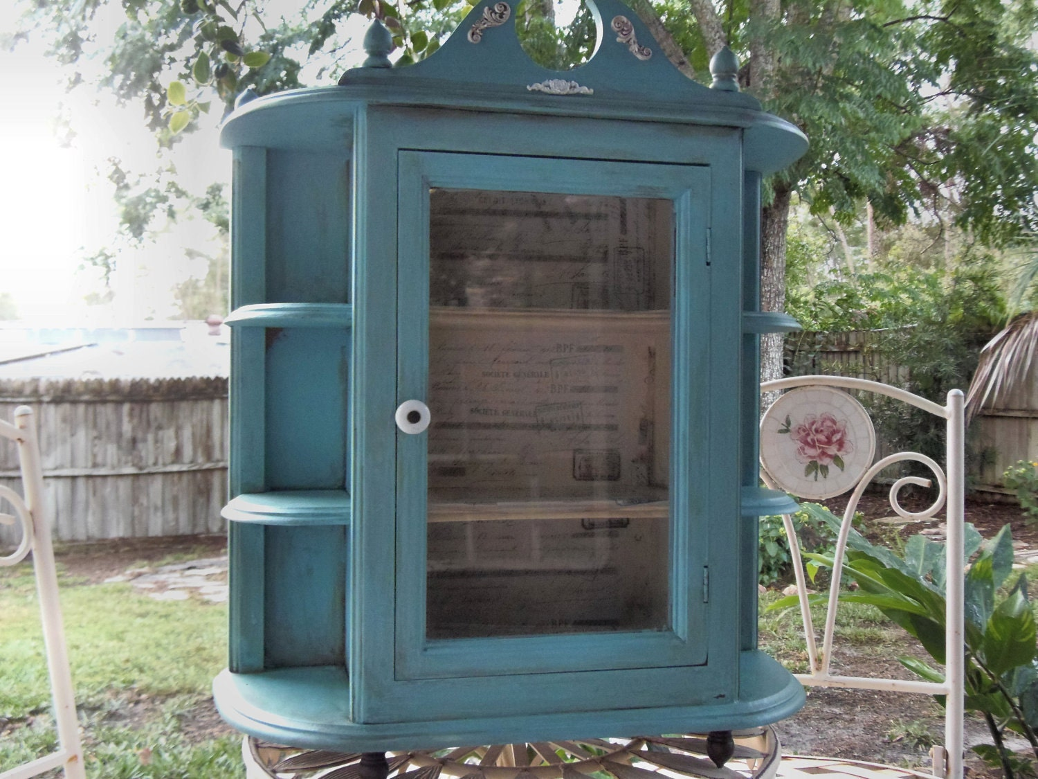 French Country Wood Curio Cabinet Upcycled By StopperCountryStore. Full resolution  image, nominally Width 1500 Height 1125 pixels, image with #757D4E.