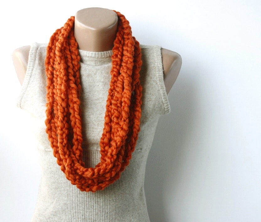 Crochet Scarf Patterns For Bulky Yarn : Burnt orange chain scarf bulky yarn crochet by violasboutique