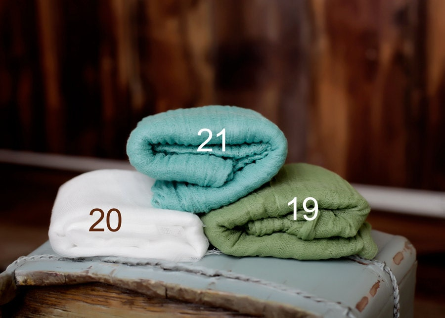 PICK 3 Cheesecloth Newborn Wraps Baby Wraps Cheesecloth Wraps Photography Prop, Newborn Photo Prop - 22 Cheesecloth Colors Choices Inside