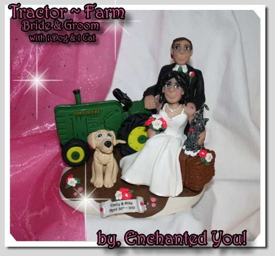 Tractor Farm Country Wedding Cake Topper with pets From EnchantedYou54449