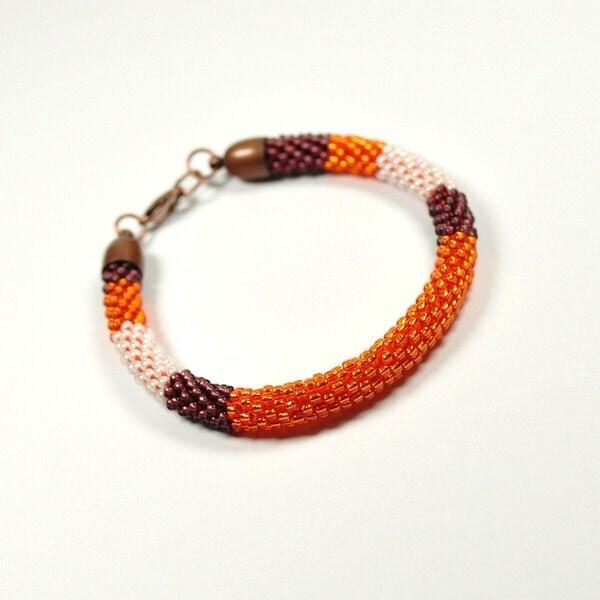 Bead Crochet Bracelet. Rope Bracelet. Oriental Bracelet. Beaded Bracelet. Toho Seed Beads Bracelet. Orange Bracelet. Oriental Bangle. - ArtStyleBizu