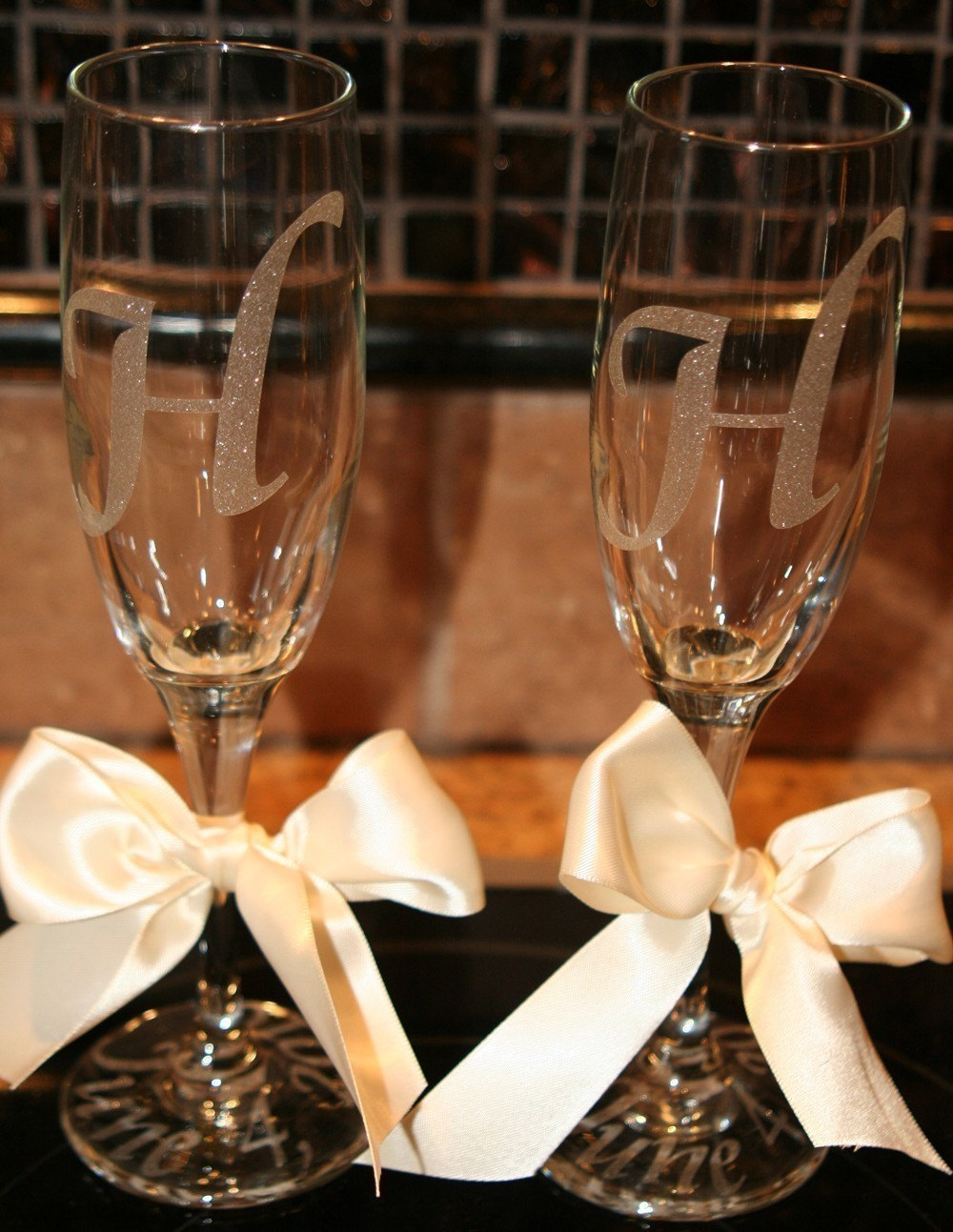personalized wedding champagne flutes by melaniedupuy on etsy