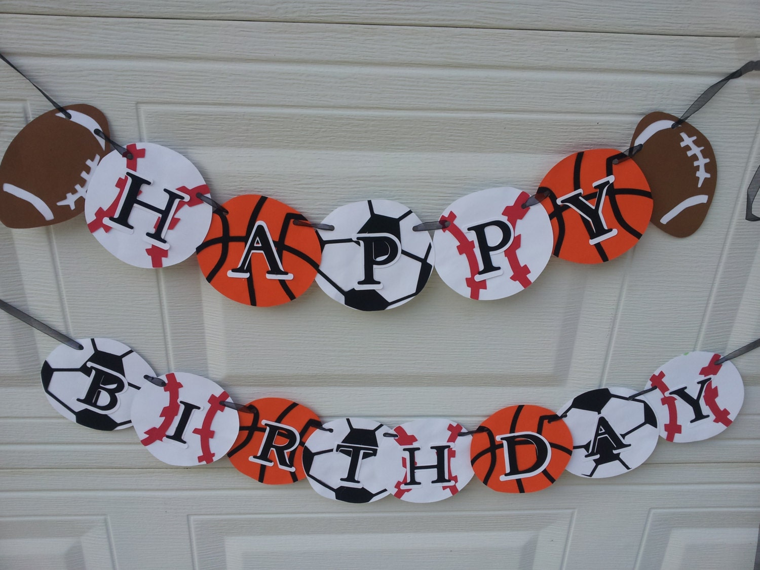 sports birthday banner football, baseball, soccer, basketball