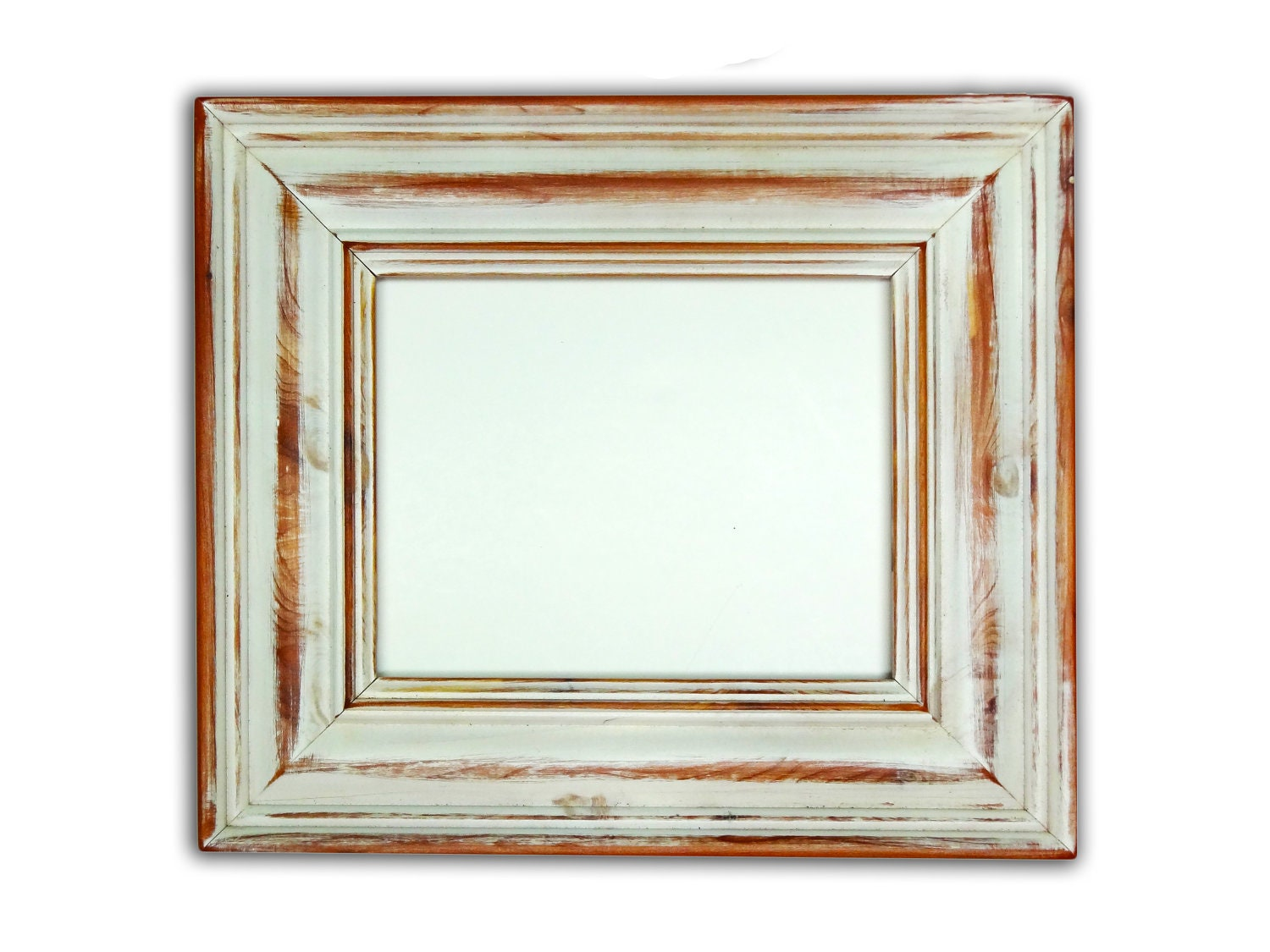 Rustic old antique distressed white whitewash by - White wooden picture frames ...
