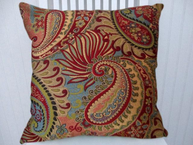 Turquiose Red Paisley Decorative Throw By Codyandcooperdesigns