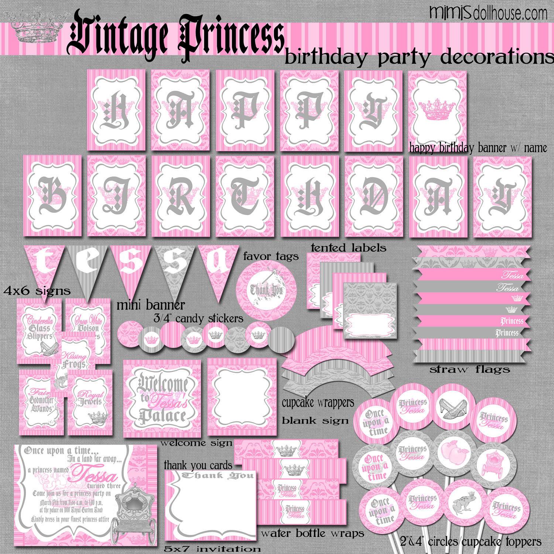 Princess Party Decorations Printable Vintage by MimisDollhouse