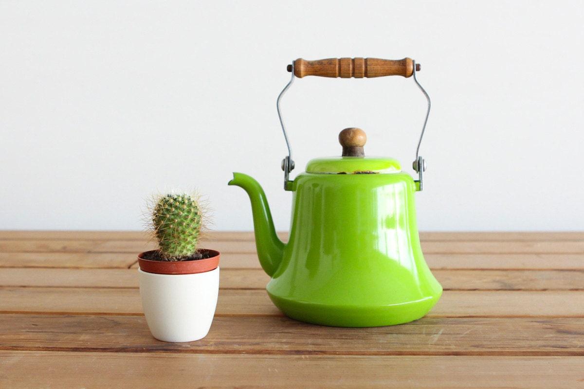 Vintage Rustic Lime Green Tea Pot - castandcrew