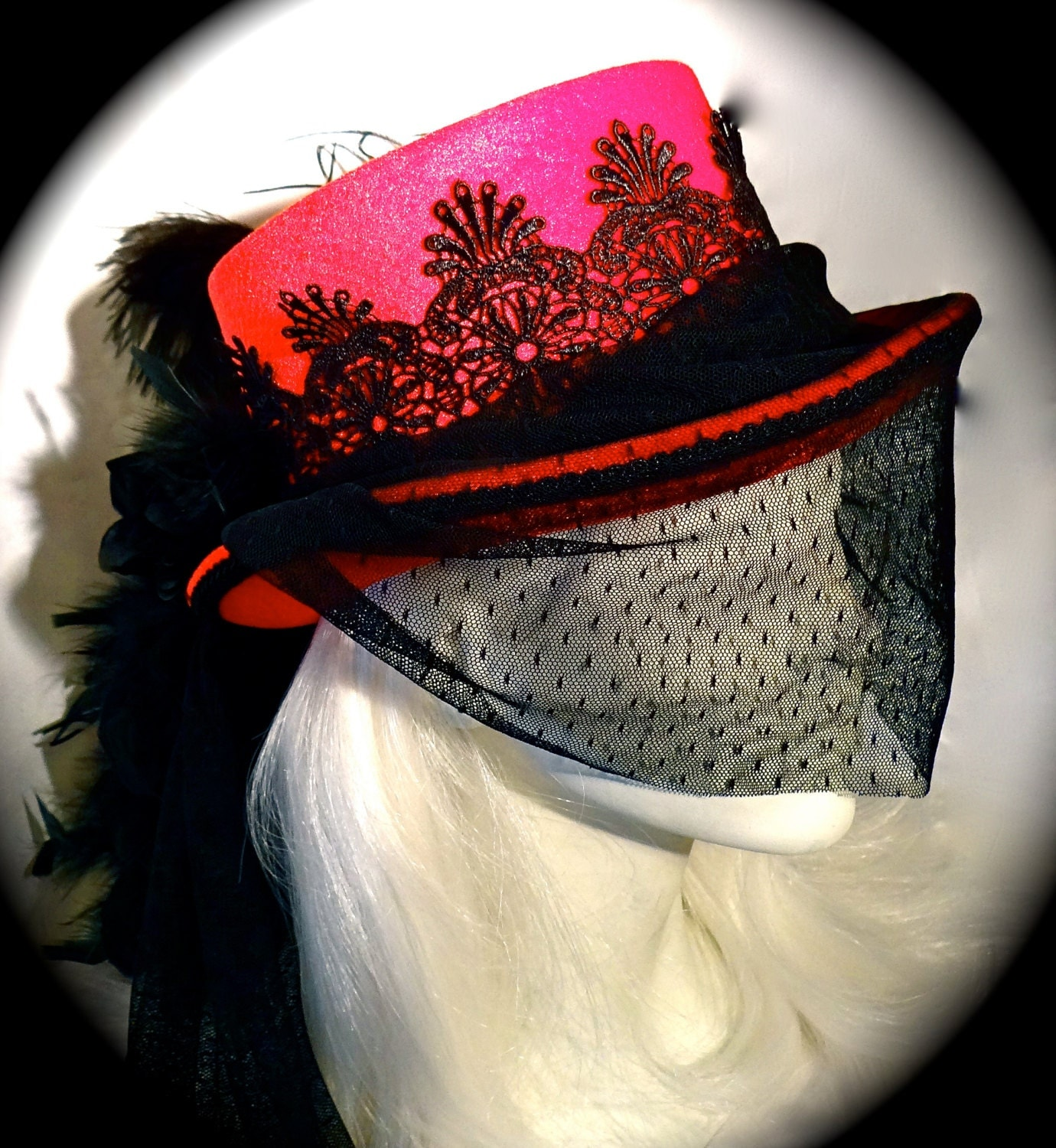 Victorian Gothic Hat Red Steampunk Ladies Riding Hats G105 $85.00 AT vintagedancer.com