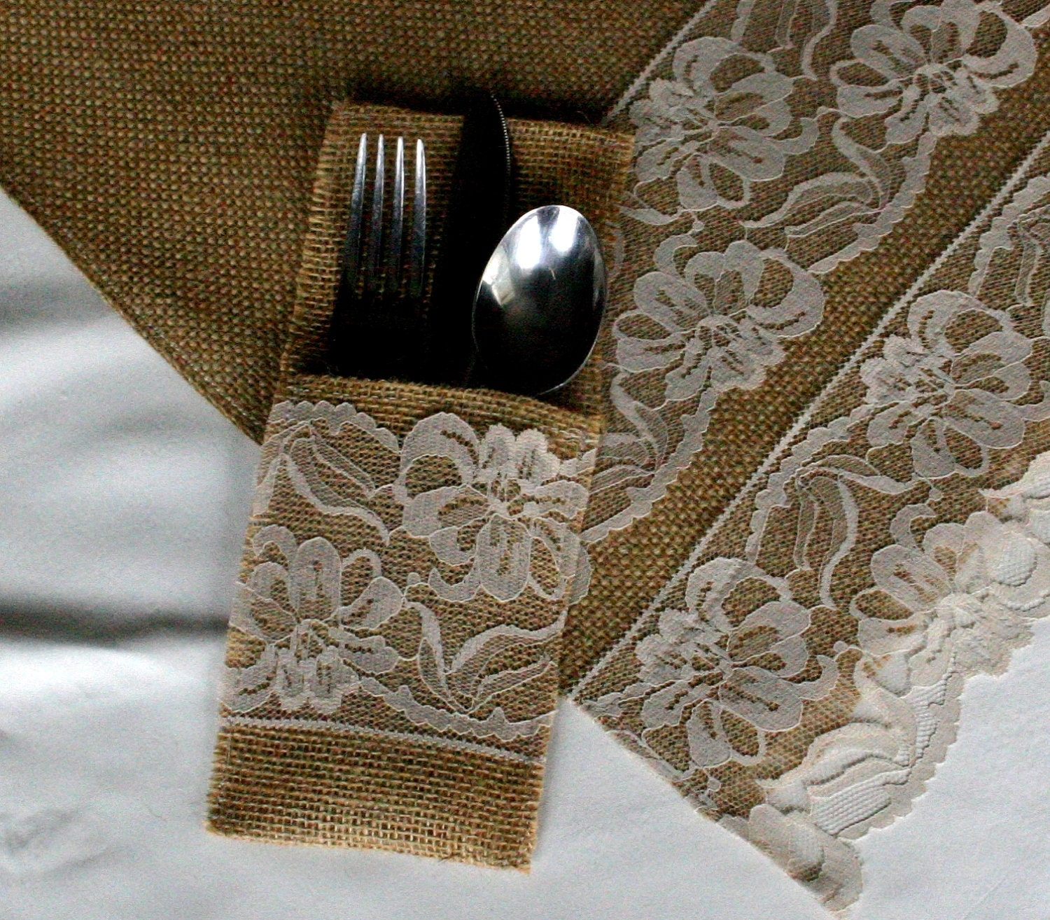 Burlap silverware holders and runner PACKAGE enclude's SiX pockets and ONE 84 inch RUNNER