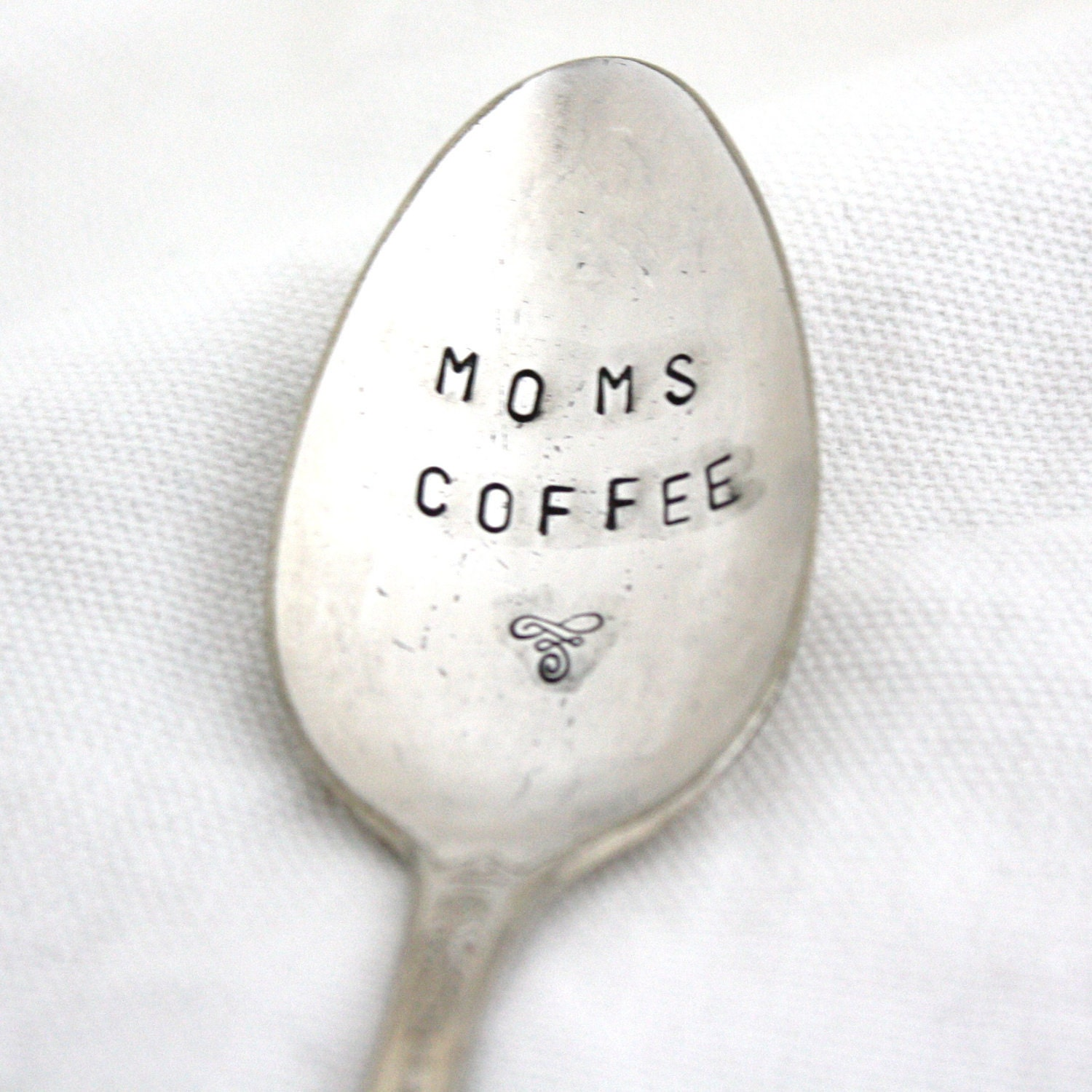 Moms Coffee spoon, shabby chic hand stamped vintage silver spoon with flourish for unique Mothers Day Gift