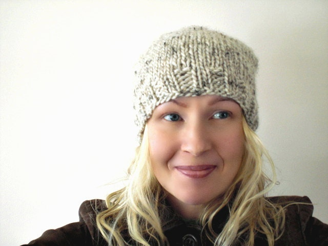 Knitted winter hat. Oatmeal natural white color. Natural wool blend. Handmade slouchy cuteness for winter warmth.