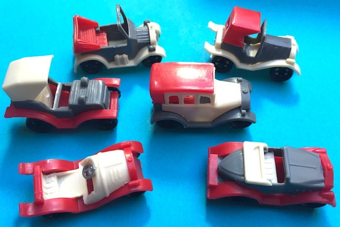 6 Old Fashioned 4.5cm Toy Cars all Different  Old Warehouse Find
