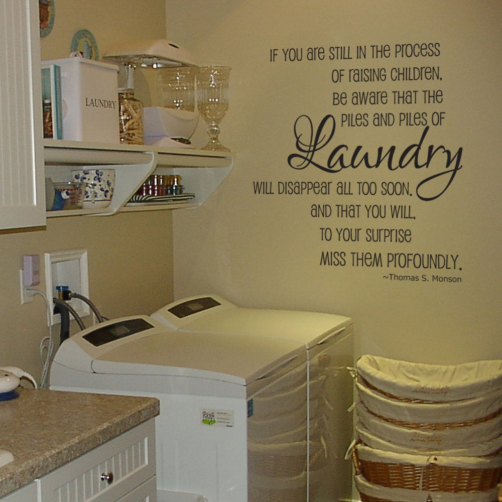 Laundry Room Wall Decor Stickers : Laundry piles room vinyl wall decal by grabersgraphics
