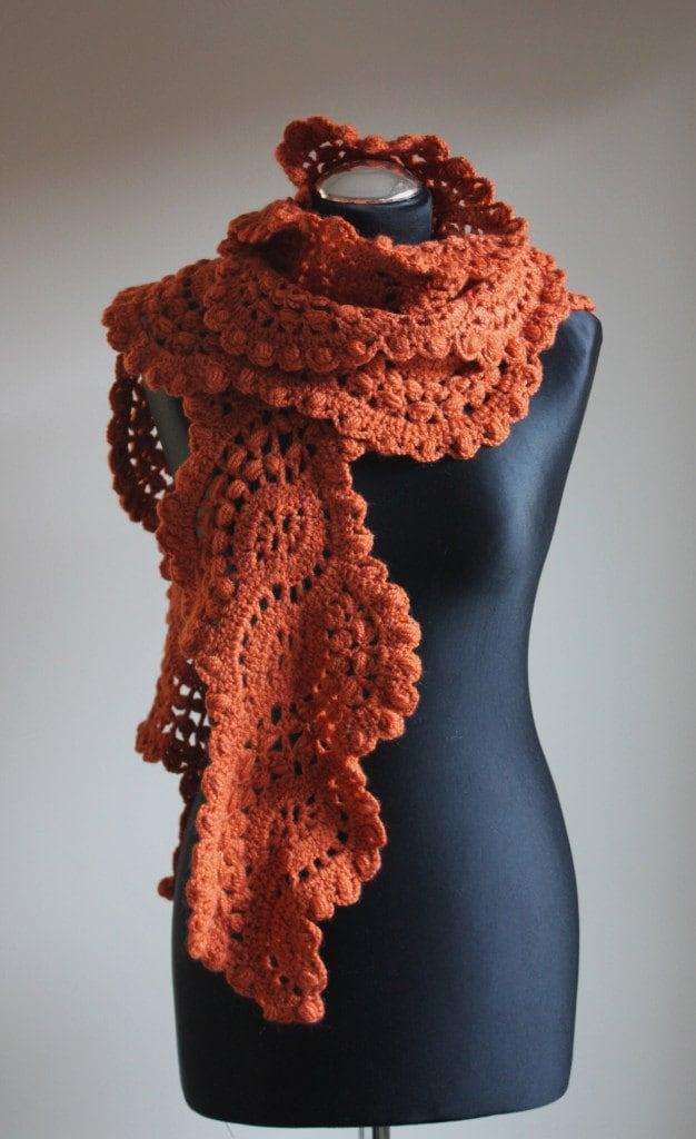 crocheted lace scarf in pumpkins color by