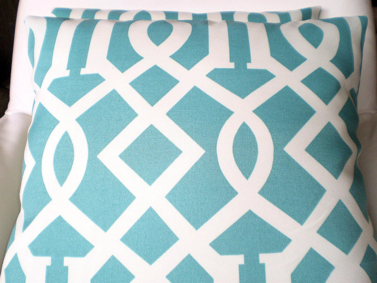 OUTDOOR Pillows Decorative Throw Pillows Cushion Covers Turquoise Cream Trellis Indoor Outdoor ...