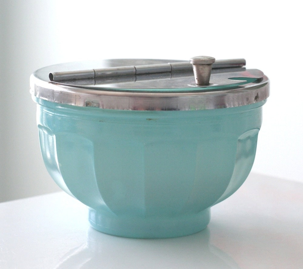 Gemco Blue Fired-On Condiment Bowl with Hinged Lid - jaditekate