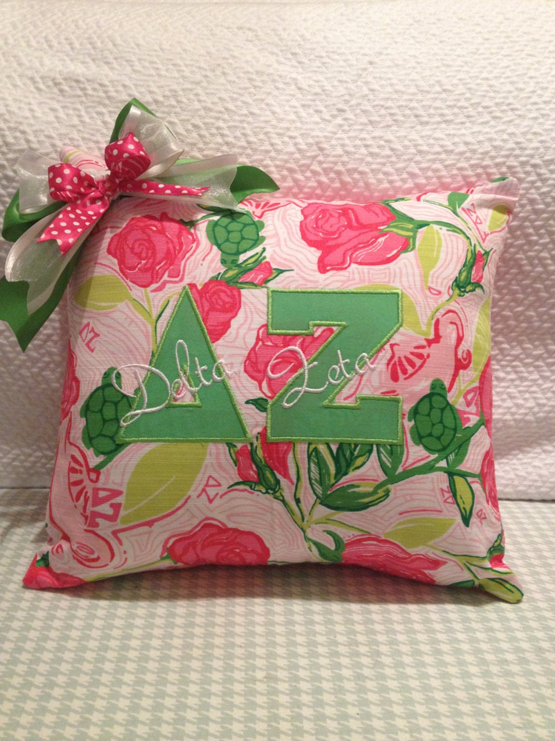 Delta zeta greek letter pillow pink lilly pulitzer by mamabern for Lilly pulitzer sorority letters