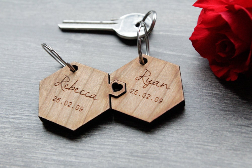 Valentines Personalised Keyring His  Hers Matching Keyring Wooden Engraved Keyring Personalised Wedding Favour Jigsaw Keyring Hexagon