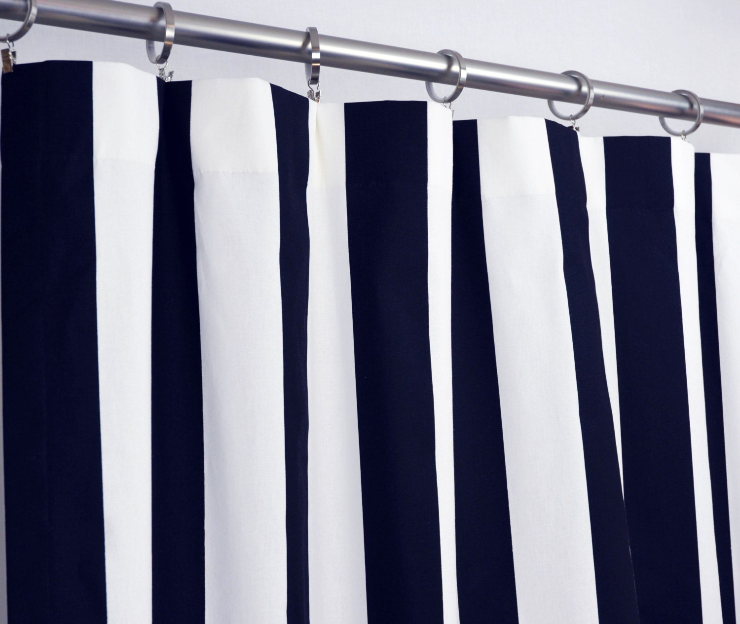 Pair of Rod Pocket Curtains in Navy Blue and White by Zeldabelle
