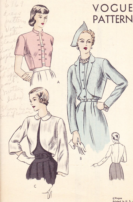 Womens Bolero Jacket Vintage 1940& 39;s Sewing Pattern Vogue 6311 Bust