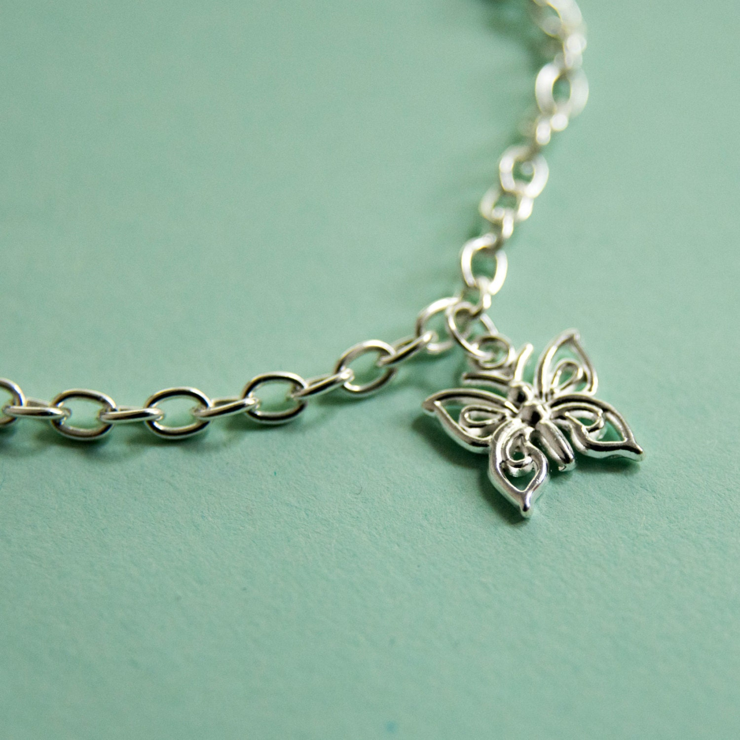 Silver plated butterfly anklet