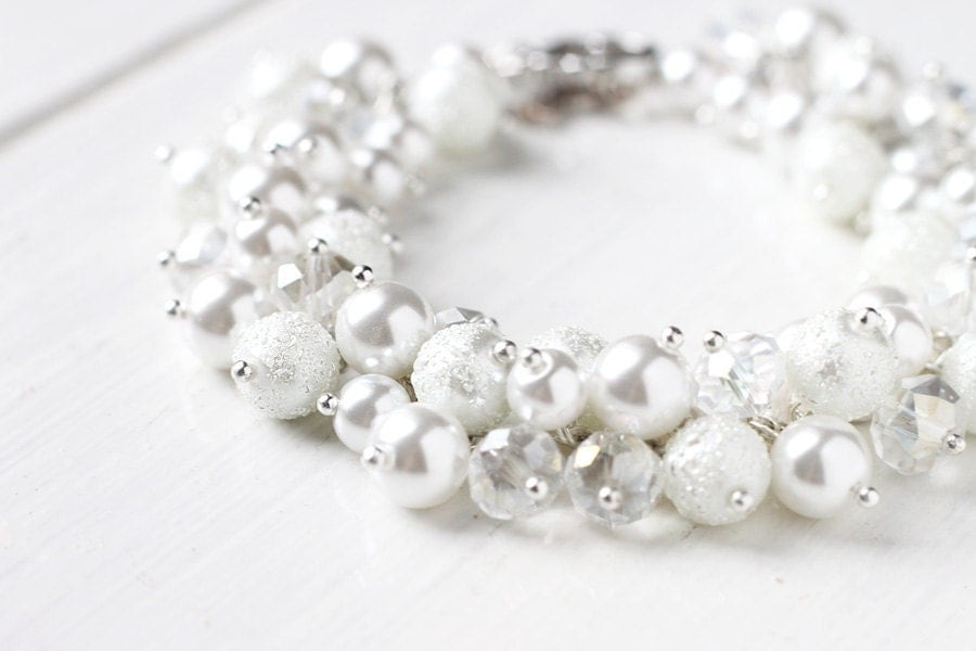 Winter White Wedding Bridesmaid Jewelry White Pearl Cluster Bracelet - Purity - skyejuice