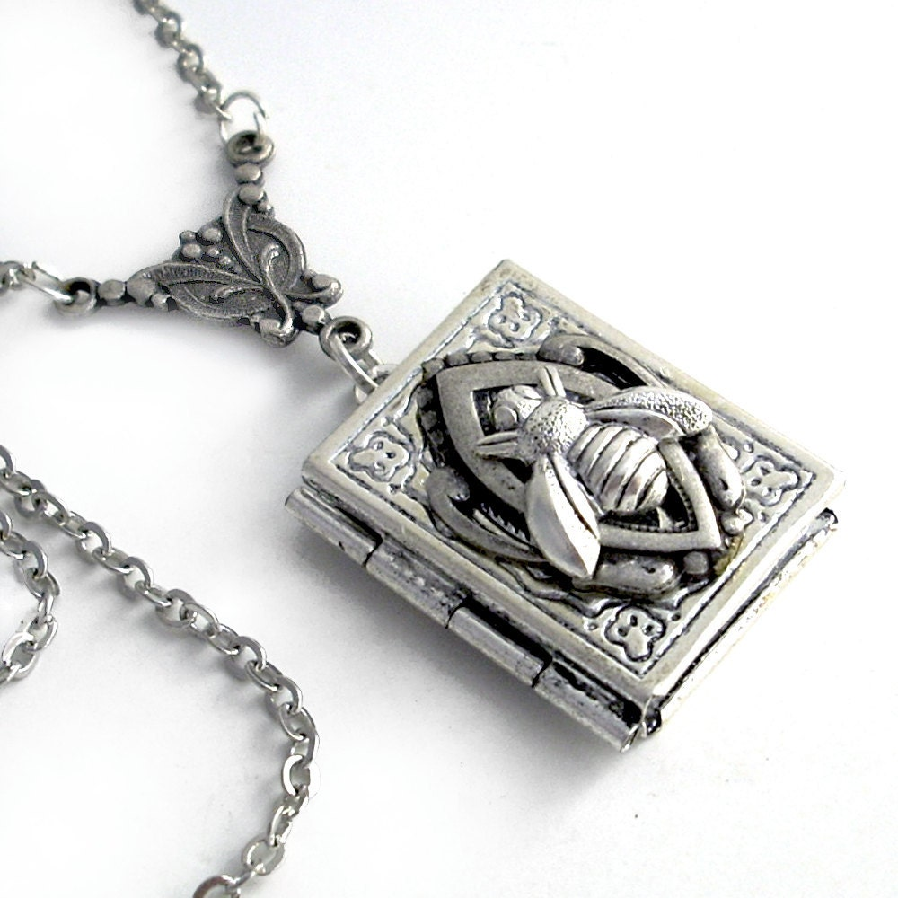 busy bee silver book locket necklace jewelry by