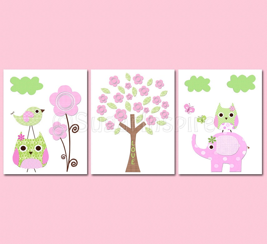 Pink And Green Wall Decor For Nursery : Items similar to pink and green nursery art print set