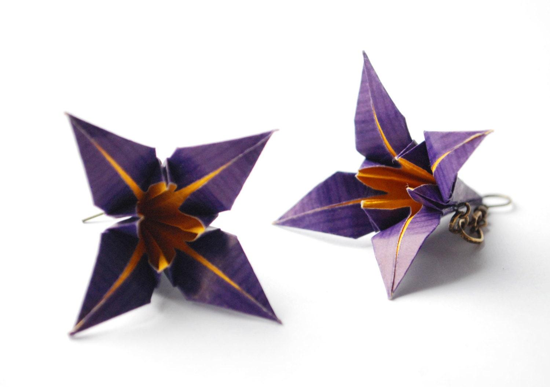Flower Earrings Origami Earrings Dangle Earrings Modern Earrings Paper Earrings Iris Earrings - MAGcraftsy