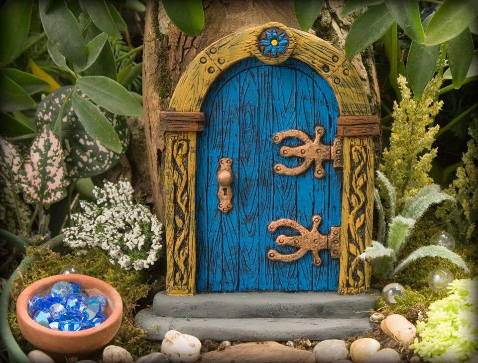 Blue fairy door by hiddenworlds on etsy for Painted fairy doors