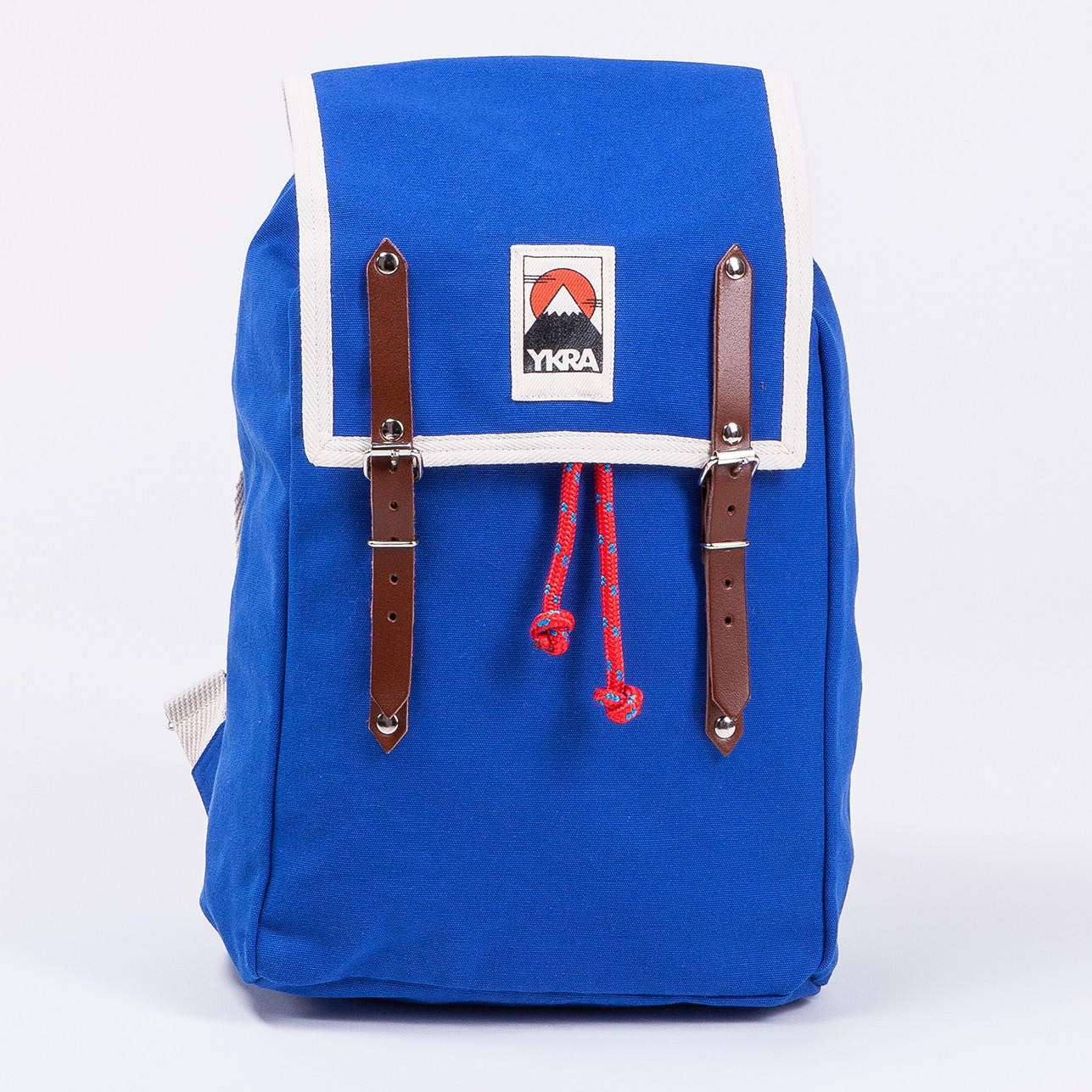 Canvas Backpacks  Leather Backpack  Festival Backpack  Leather details 70s inspired Backpack  BLUE  YKRA  13 Laptop Bag