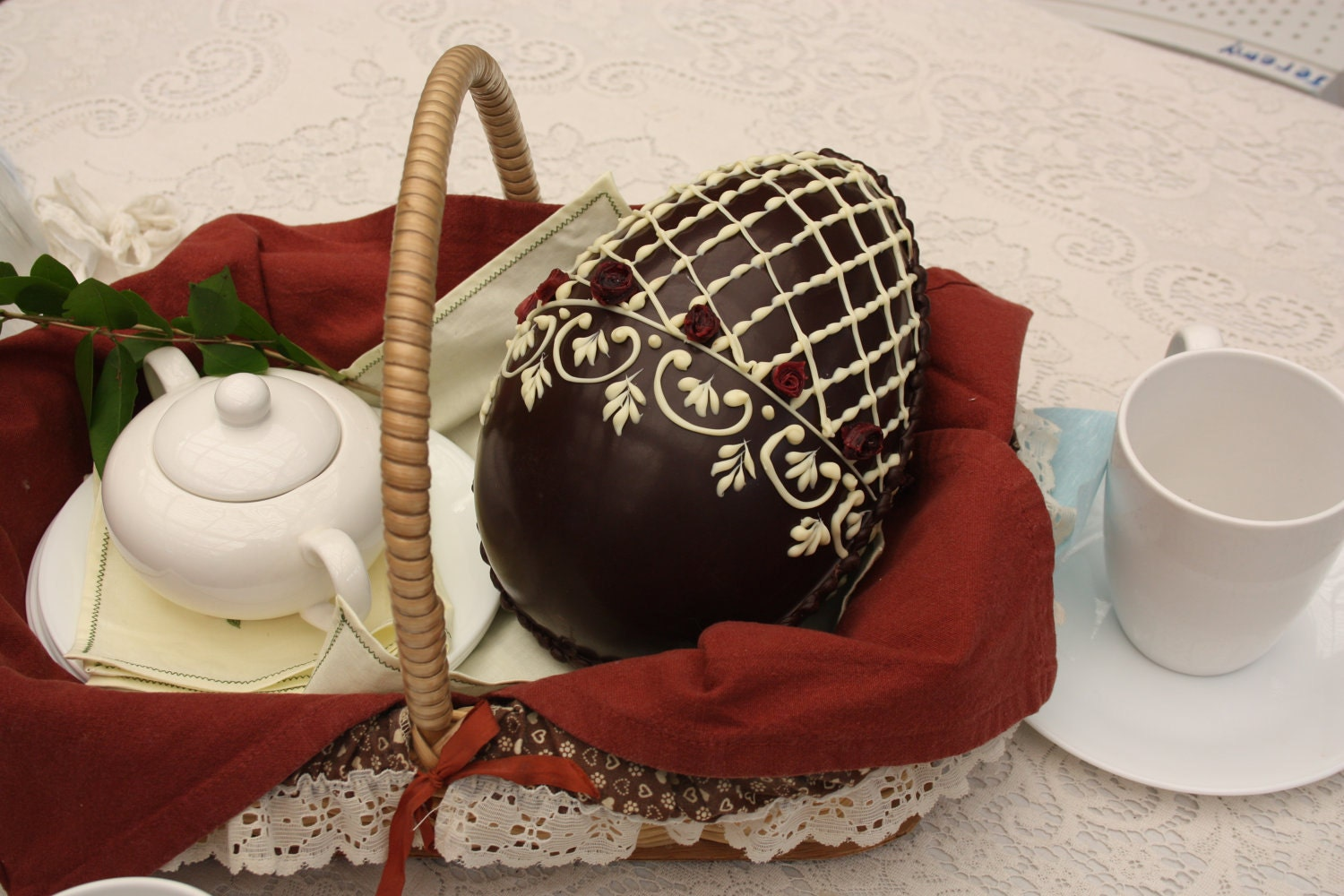 Large Chocolate Easter Egg - hand decorated - dark and white chocolate