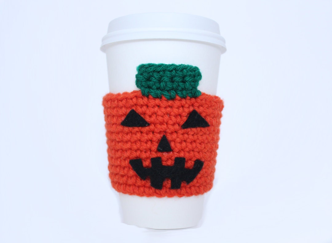 Pumpkin coffee cozy Halloween crochet cup sleeve