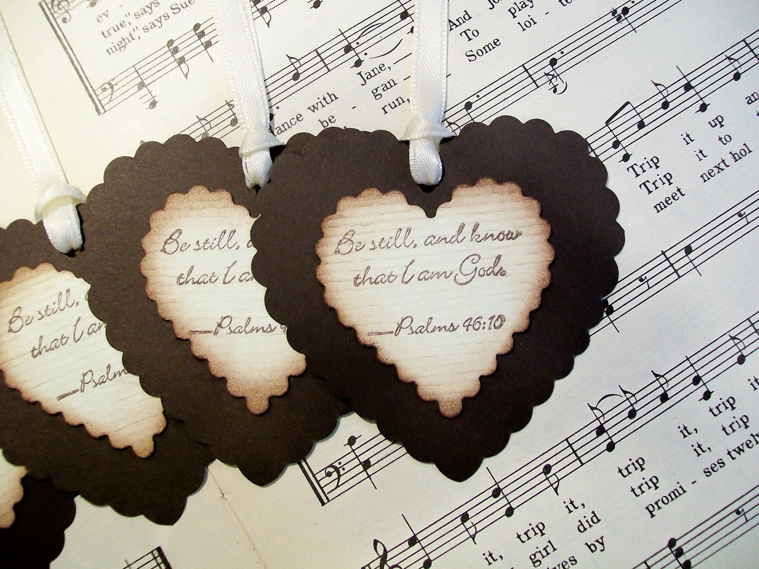 Tags Religious Gift Tags Be Still and Know That I Am God Heart Tags Set of 6