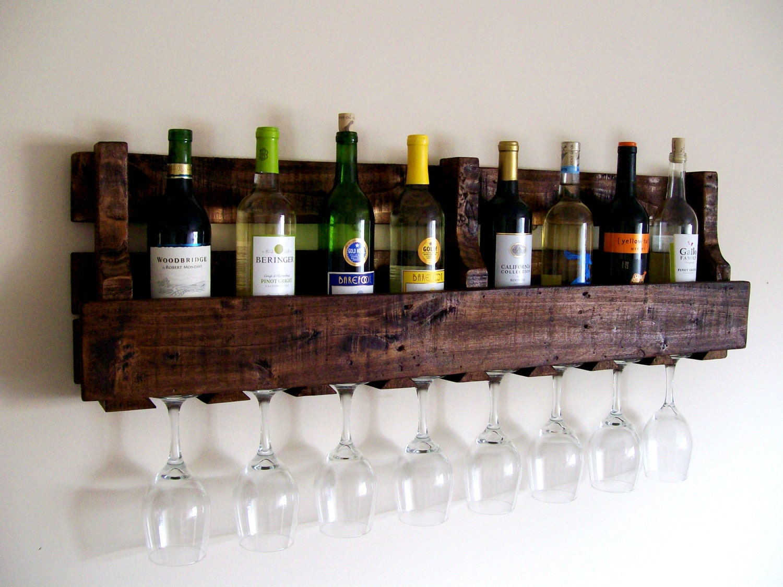 reclaimed wood wine rack pallet wood wine rack by thevineyards. Black Bedroom Furniture Sets. Home Design Ideas