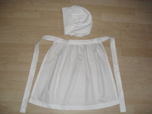 victorian style coif hat and apron Girls handmade costume maid