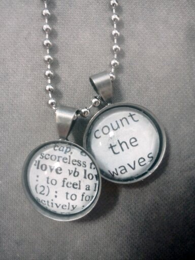 Love/Count The Waves Charm Necklace on Nickel Ball Chain