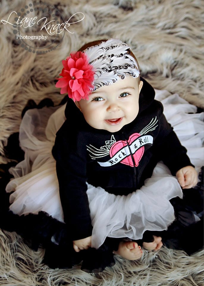 Black White Hot Pink Feather Headband Punk By