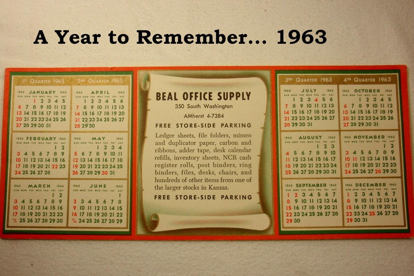Календарь 1963 года на весь год