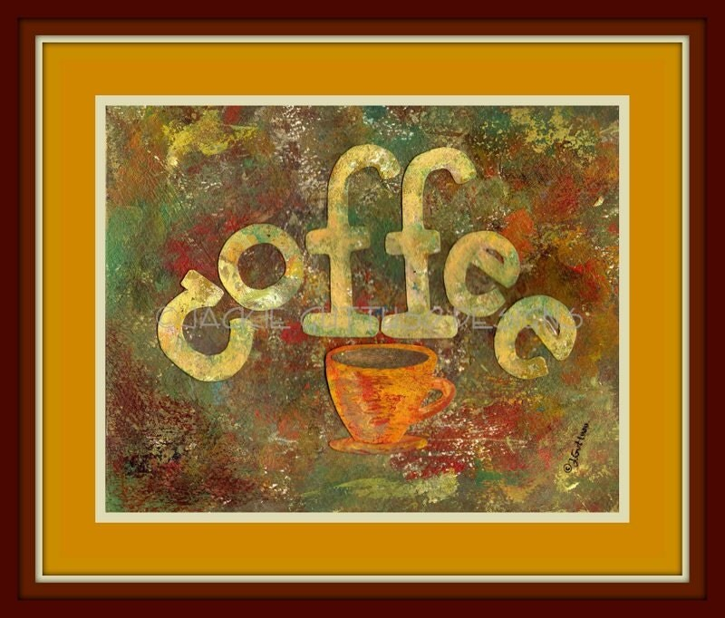 Coffee art, Original, Coffee painting, Coffee collage, Kitchen art, Kitchen painting, Coffee cup art, Kitchen decor, Dining room art