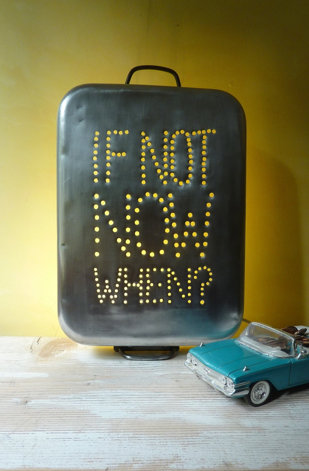 Industrial InSight Light for wall --- If Not Now When --- Repurposed from Aluminum Vintage Italian Baking Pan --- Medium
