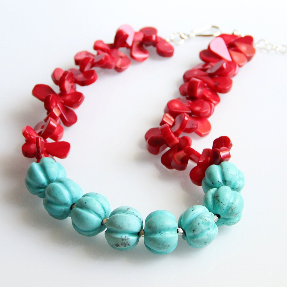 Turquoise & Coral Necklace Color Blocking Chunky By