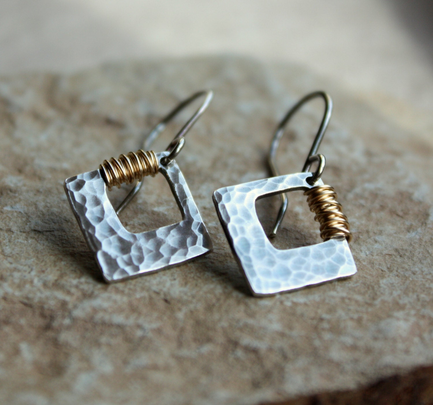 Hammered Silver Earrings With K Goldfill Wire Wrap