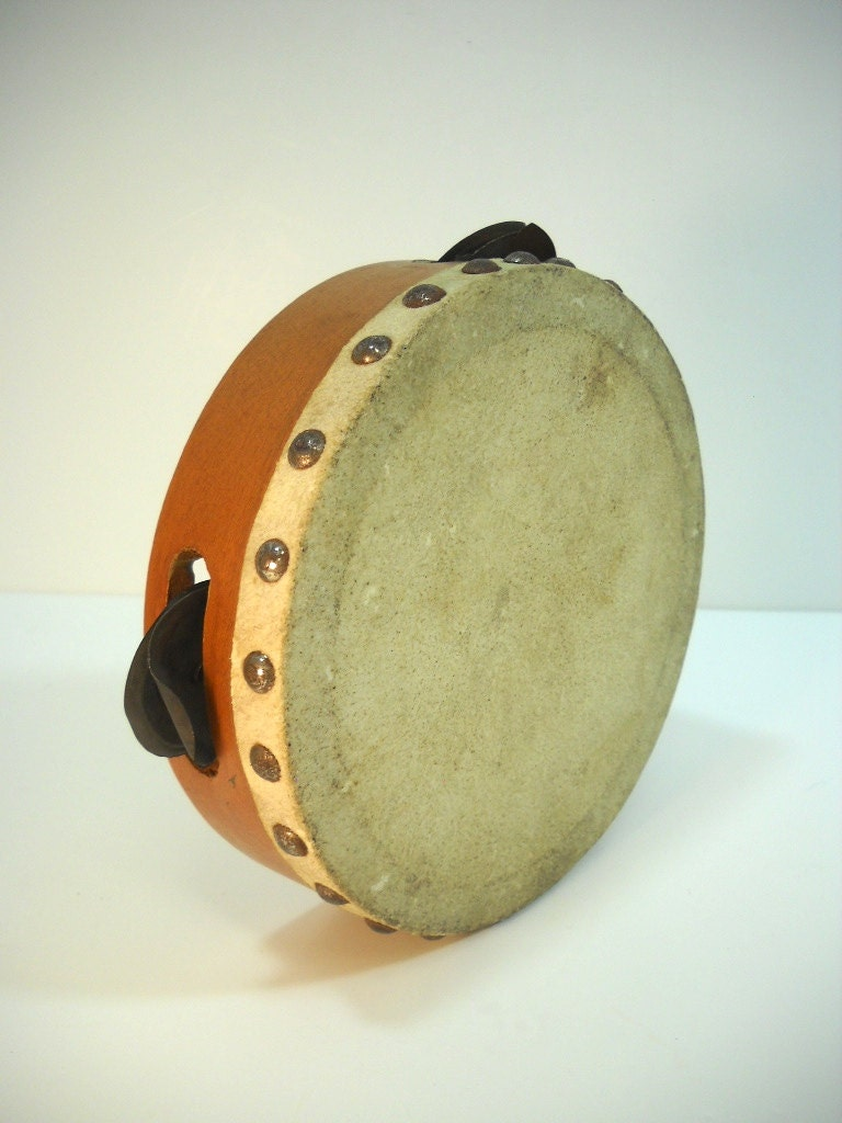 Vintage Child's Tambourine Musical Instrument Toy - wallstantiques