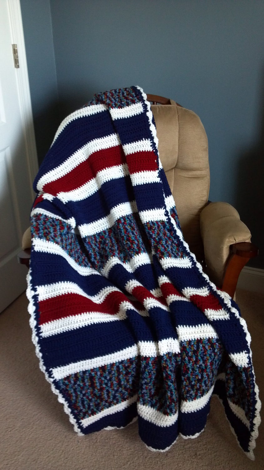 Red White And Blue Crochet Afghan By Snuggablestitches On Etsy