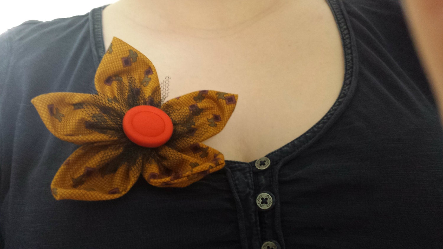 Flower Brooch  Mustard yellow aned orange handmade fabric flower brooch bag accessory scarf pin