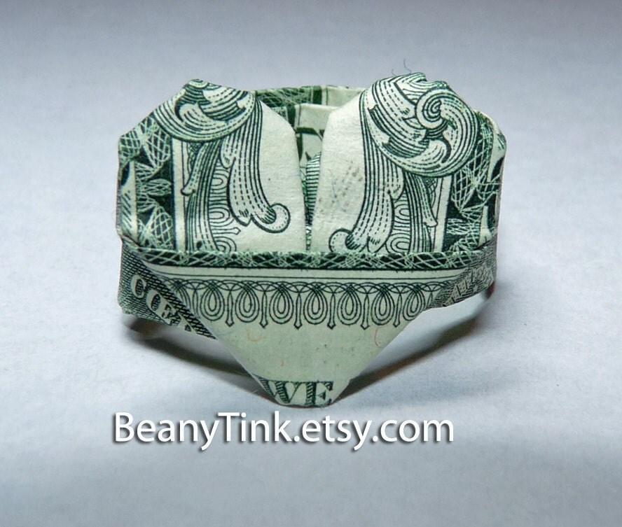 items similar to dollar origami heart ring on etsy