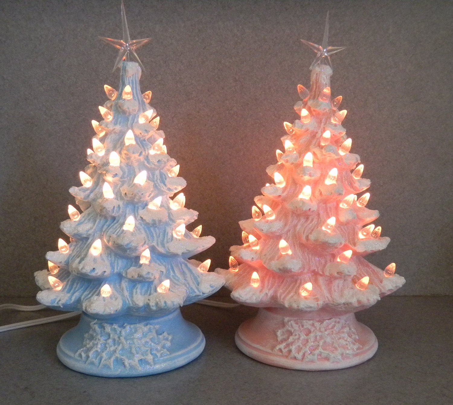 Blue stained ceramic christmas tree 11 inches by - Pink and blue christmas tree ...